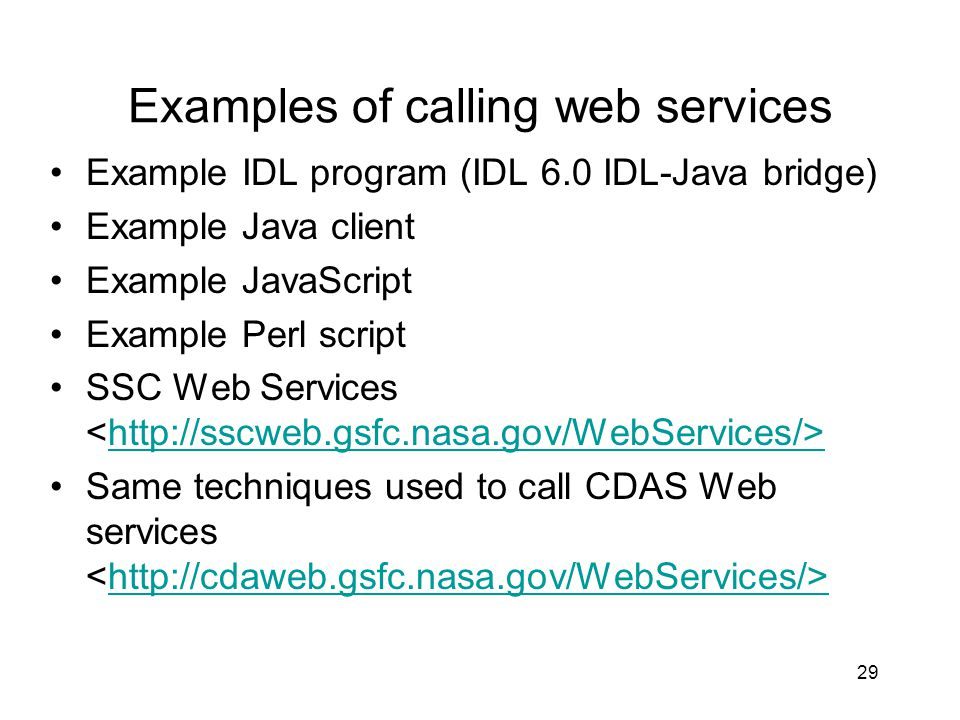 Examples of calling web services