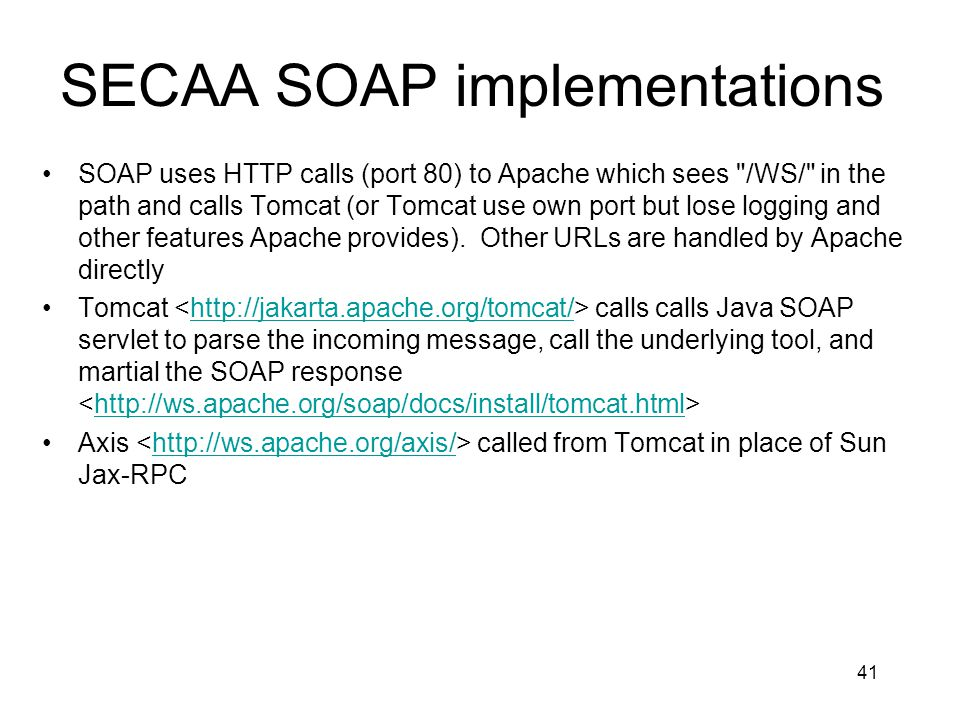 SECAA SOAP implementations
