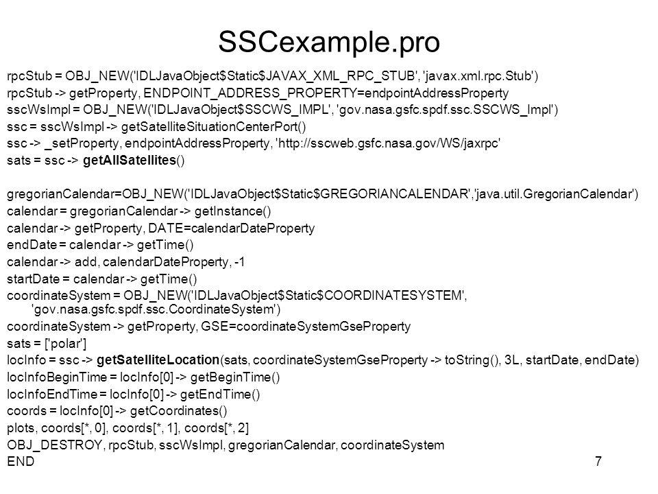 SSCexample.pro rpcStub = OBJ_NEW( IDLJavaObject$Static$JAVAX_XML_RPC_STUB , javax.xml.rpc.Stub )