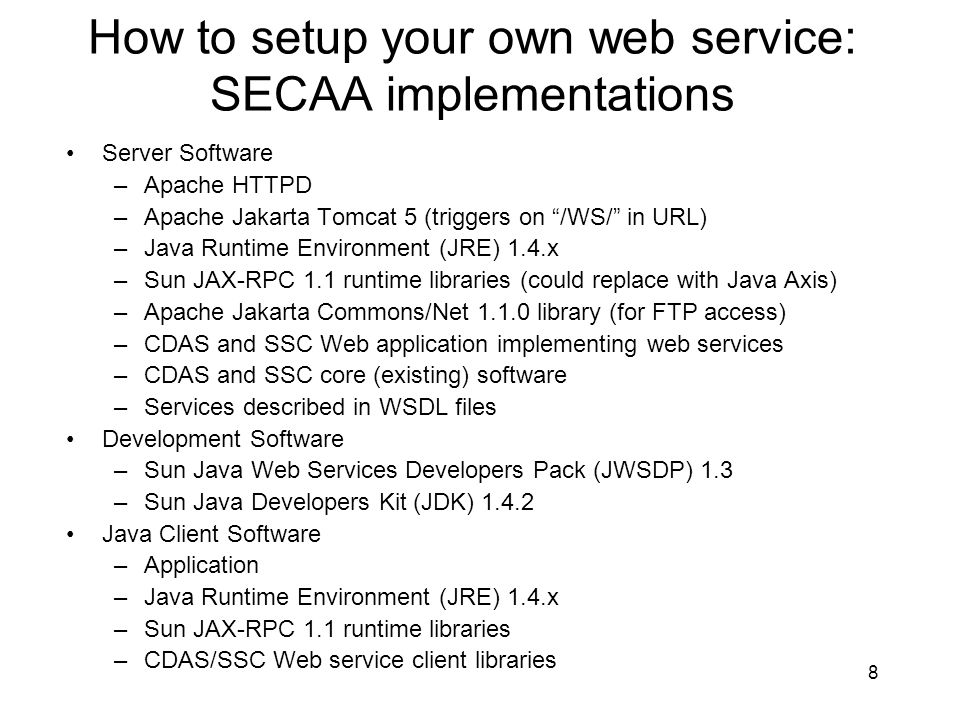 How to setup your own web service: SECAA implementations