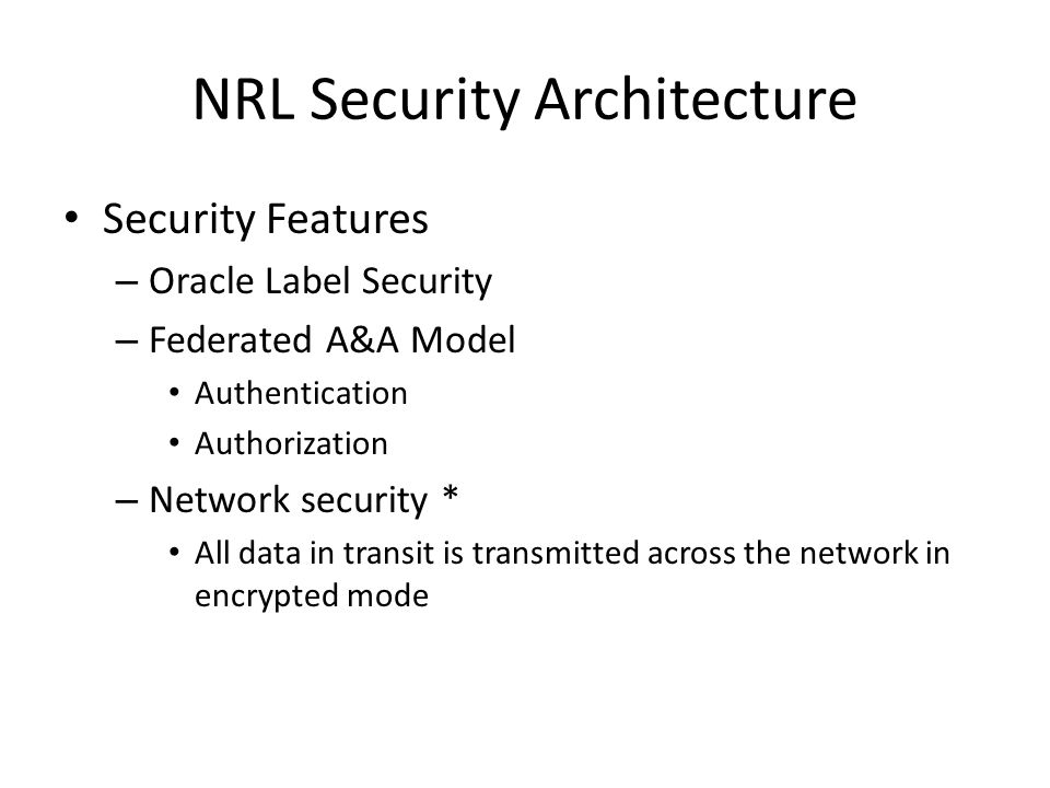 NRL Security Architecture