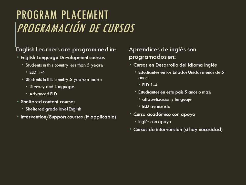 Program Placement Programación de cursos