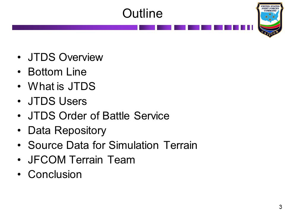 Outline JTDS Overview Bottom Line What is JTDS JTDS Users