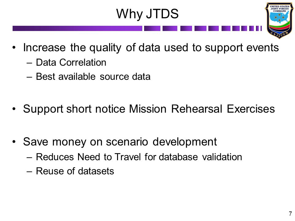 Why JTDS Increase the quality of data used to support events
