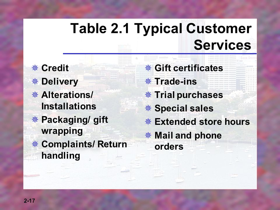 Table 2.1 Typical Customer Services