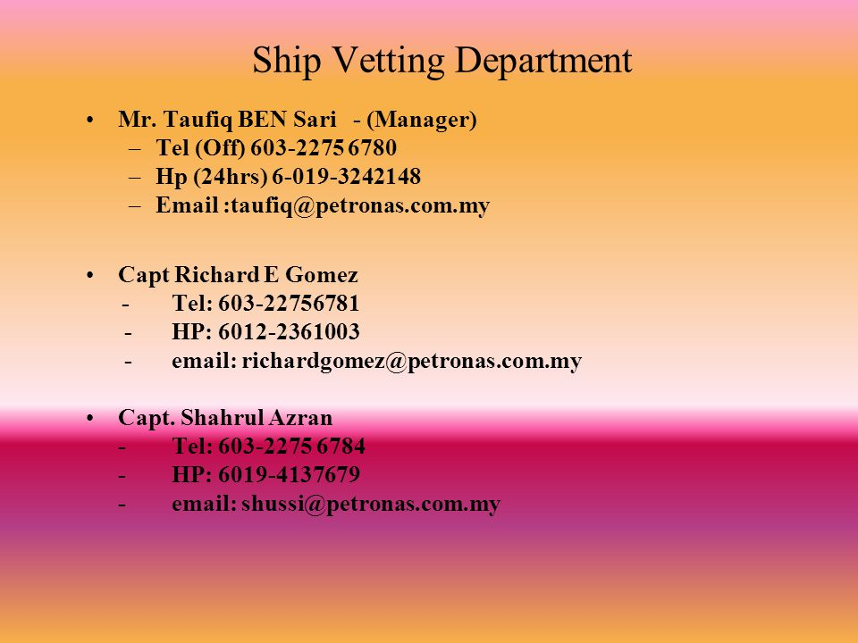 Ship Vetting Department