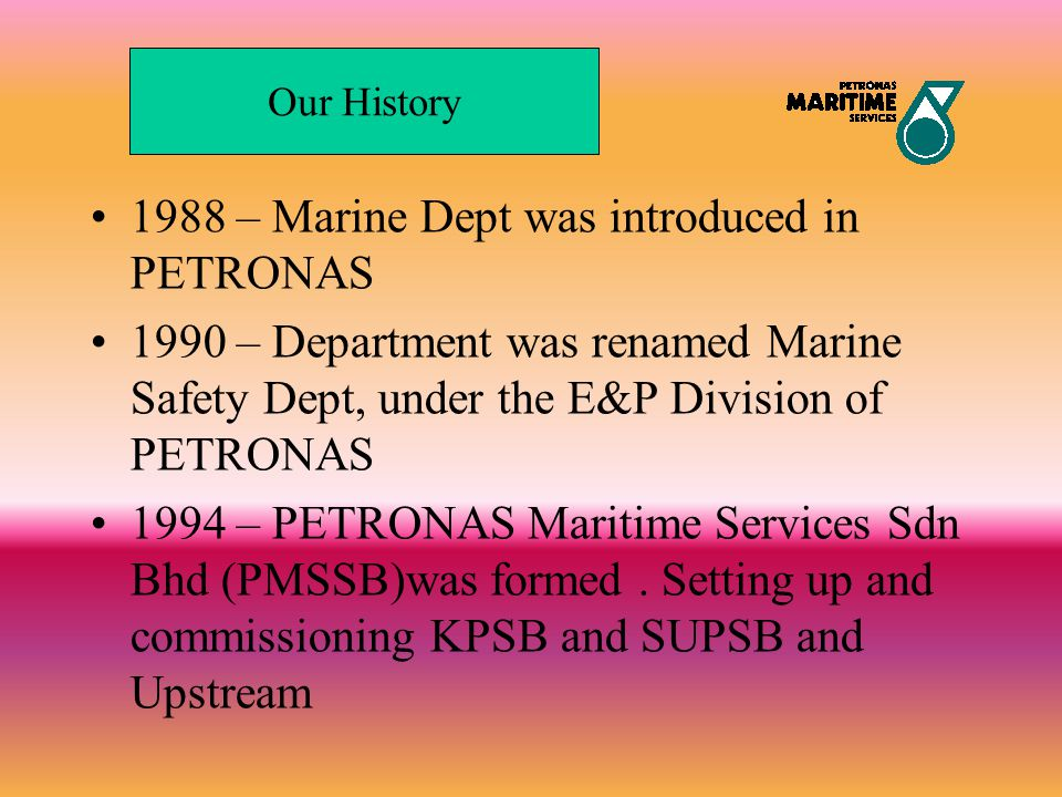 1988 – Marine Dept was introduced in PETRONAS