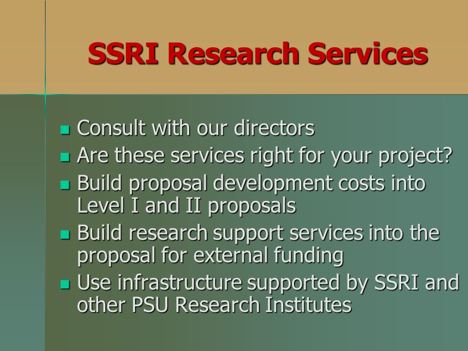 SSRI Research Services