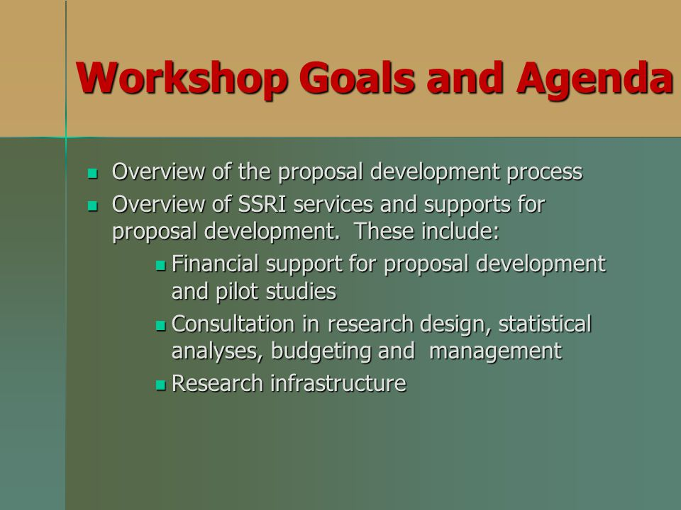Workshop Goals and Agenda