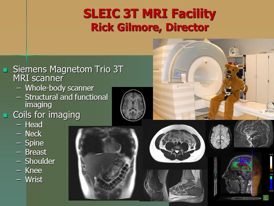 SLEIC 3T MRI Facility Rick Gilmore, Director