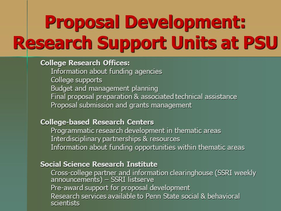 Proposal Development: Research Support Units at PSU