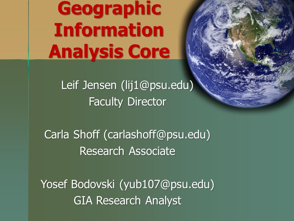Geographic Information Analysis Core
