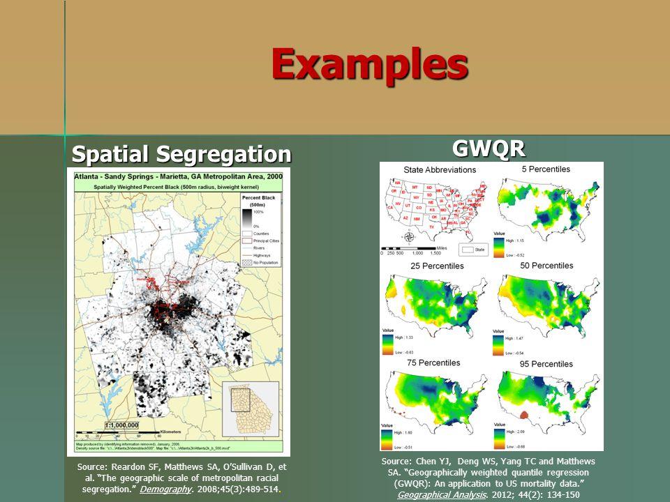 Examples GWQR Spatial Segregation