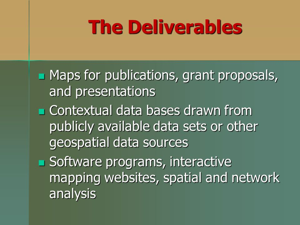 The Deliverables Maps for publications, grant proposals, and presentations.