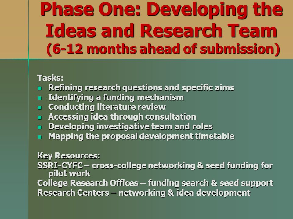 Phase One: Developing the Ideas and Research Team (6-12 months ahead of submission)
