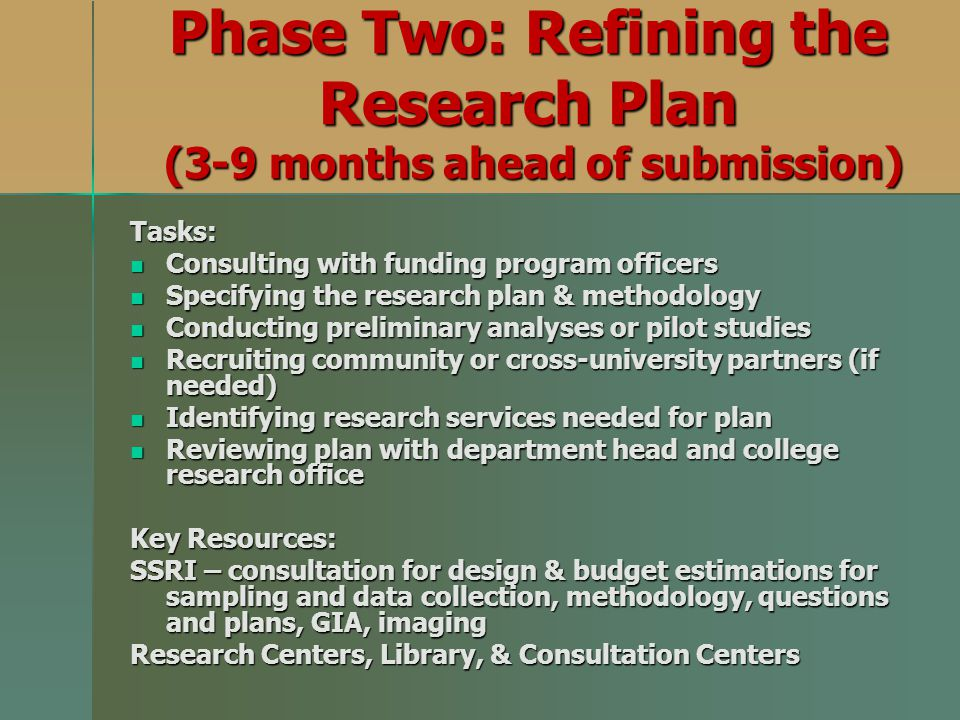 Phase Two: Refining the Research Plan (3-9 months ahead of submission)