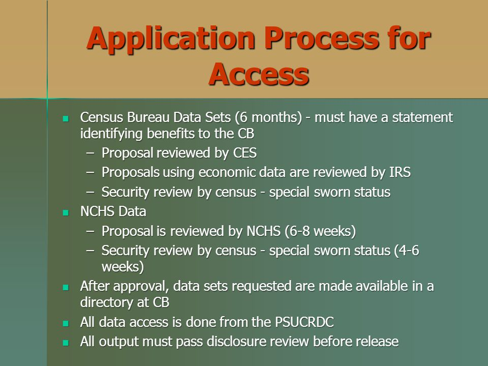 Application Process for Access