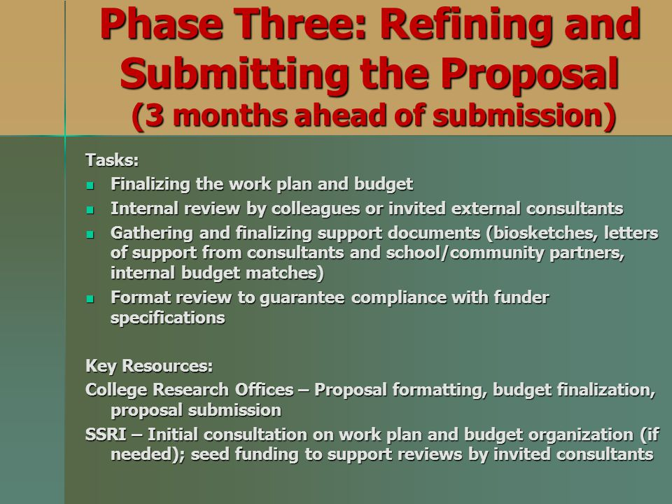 Phase Three: Refining and Submitting the Proposal (3 months ahead of submission)