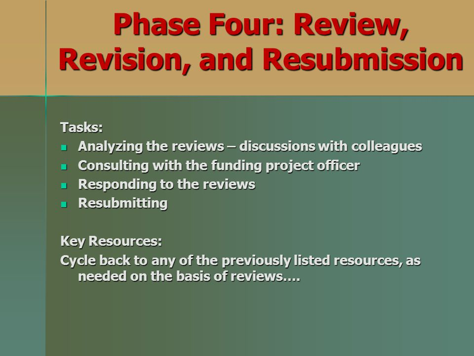 Phase Four: Review, Revision, and Resubmission