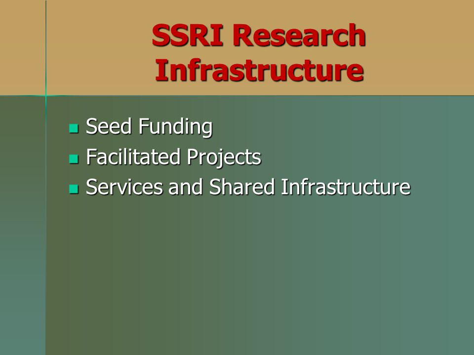 SSRI Research Infrastructure