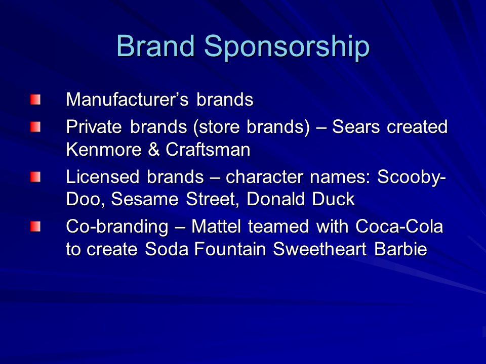 Brand Sponsorship Manufacturer's brands