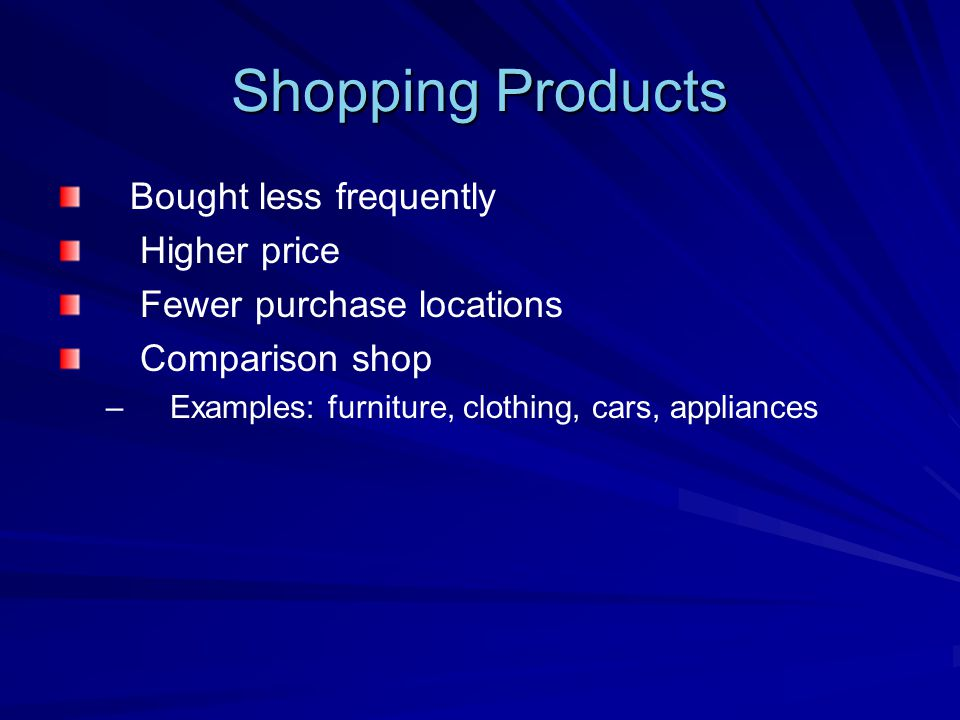 Shopping Products Bought less frequently Higher price