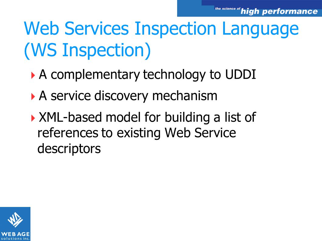 Web Services Inspection Language (WS Inspection)
