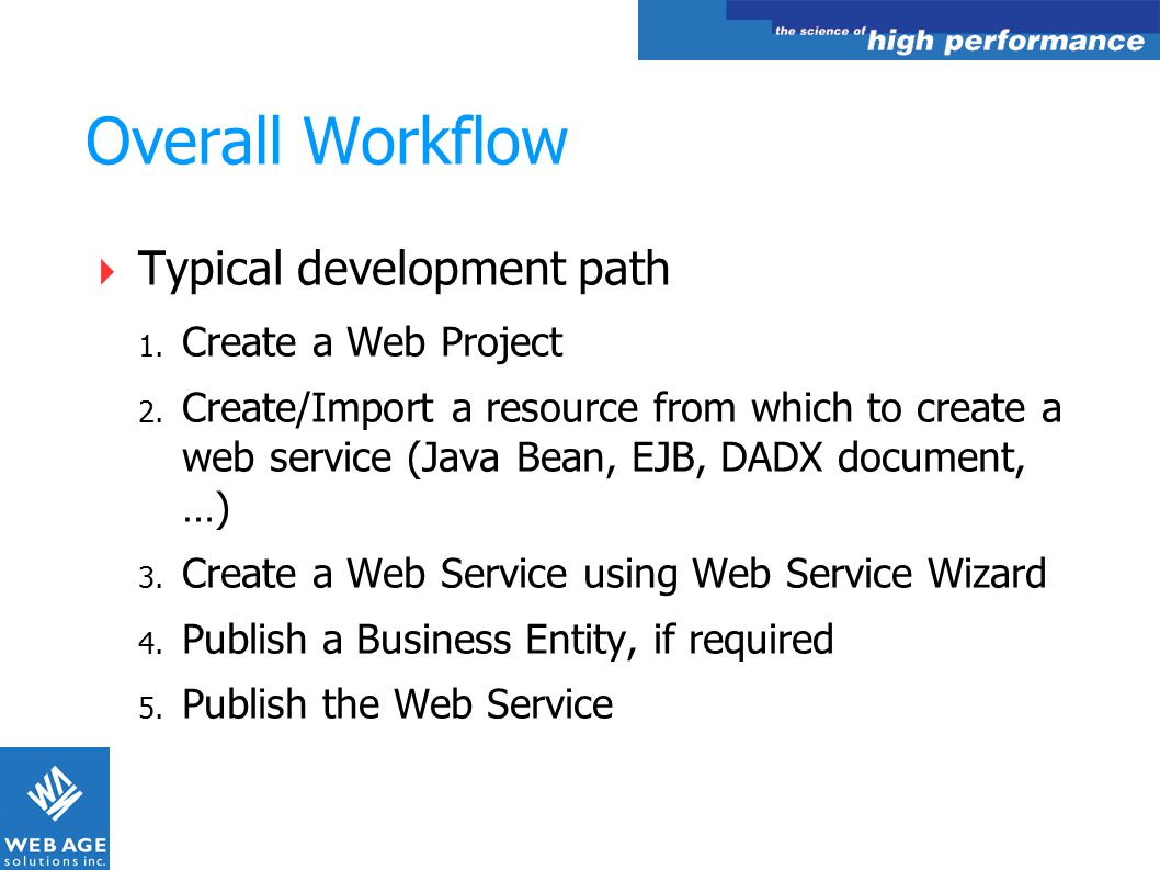 Overall Workflow Typical development path Create a Web Project