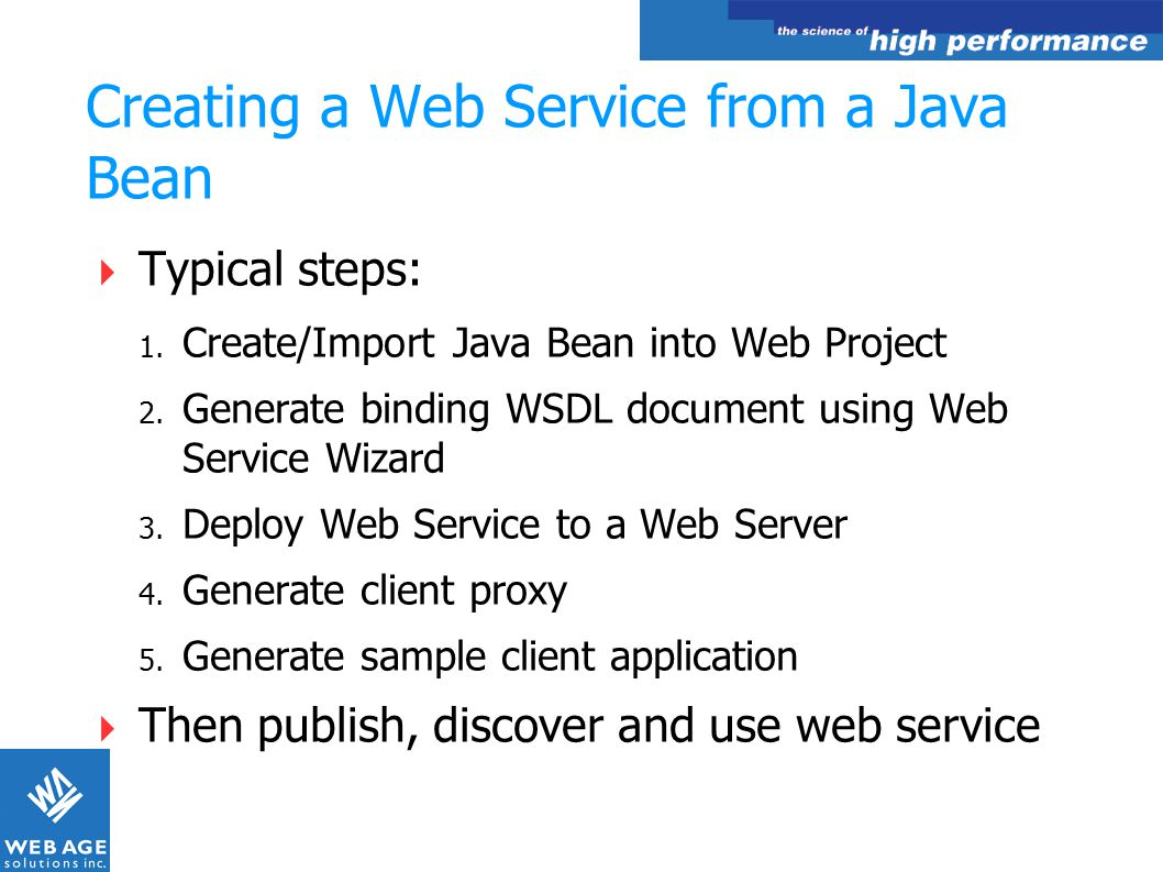 Creating a Web Service from a Java Bean