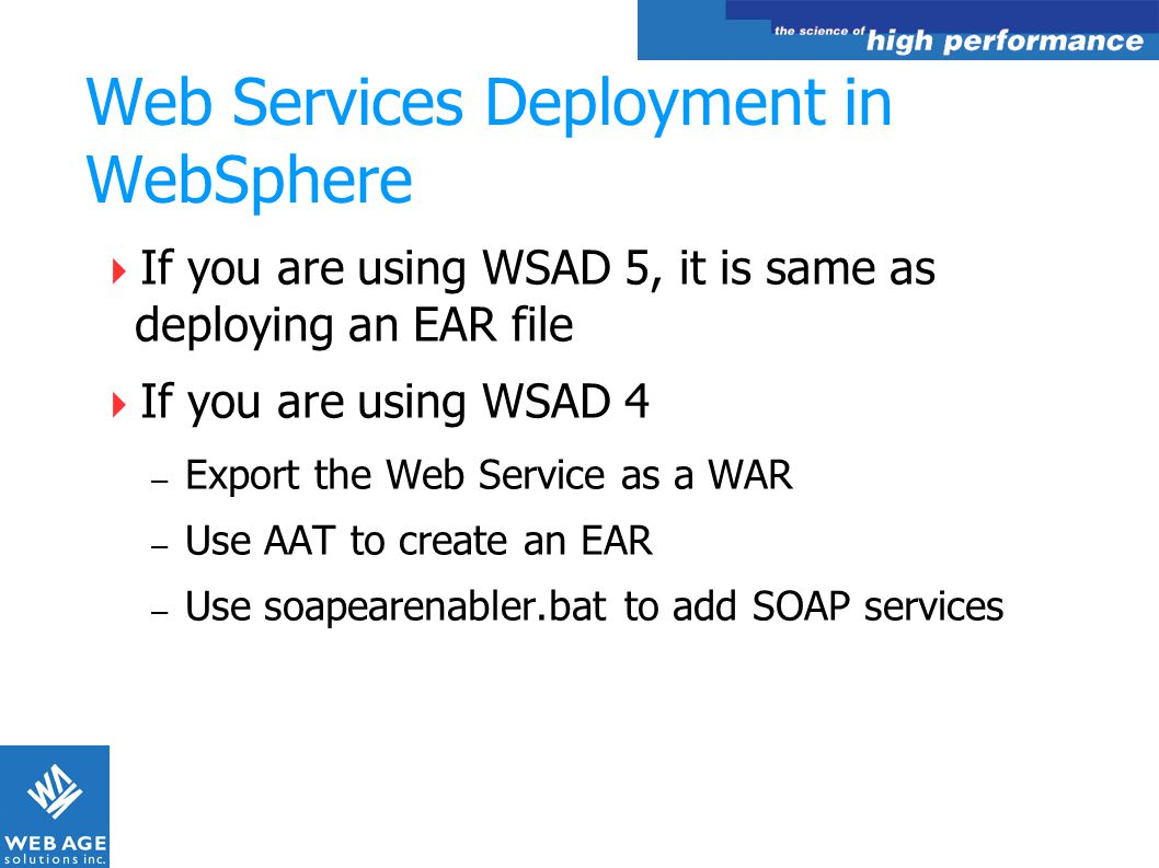 Web Services Deployment in WebSphere