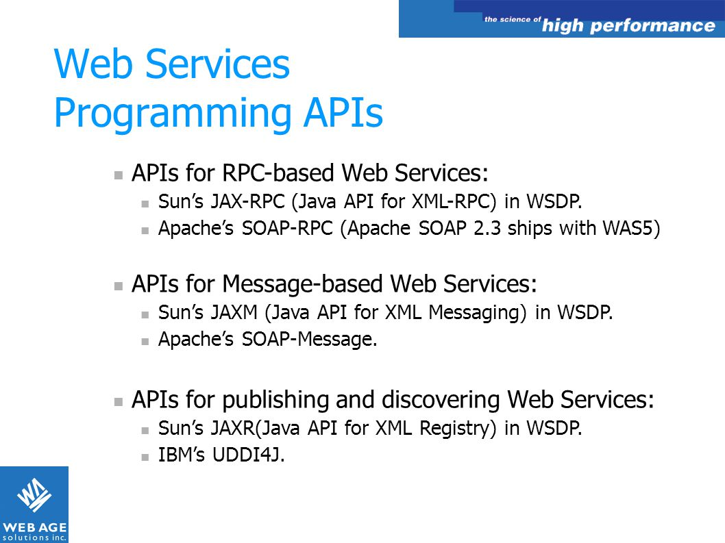 Web Services Programming APIs