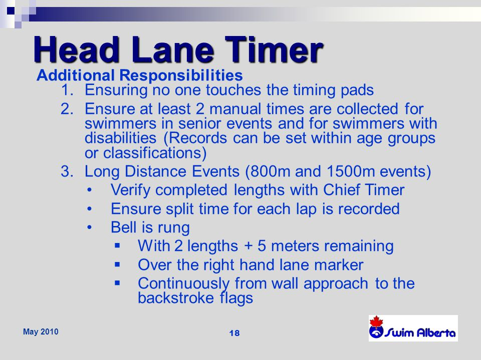 Head Lane Timer Additional Responsibilities