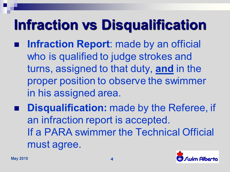 Infraction vs Disqualification