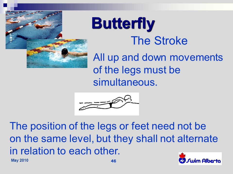 Butterfly The Stroke. All up and down movements of the legs must be simultaneous.