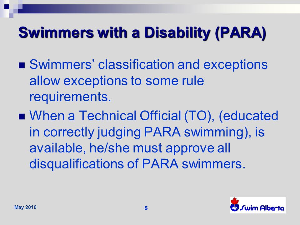 Swimmers with a Disability (PARA)