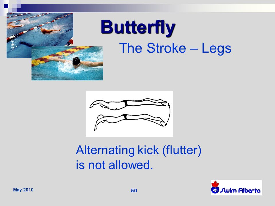 Butterfly The Stroke – Legs Alternating kick (flutter) is not allowed.