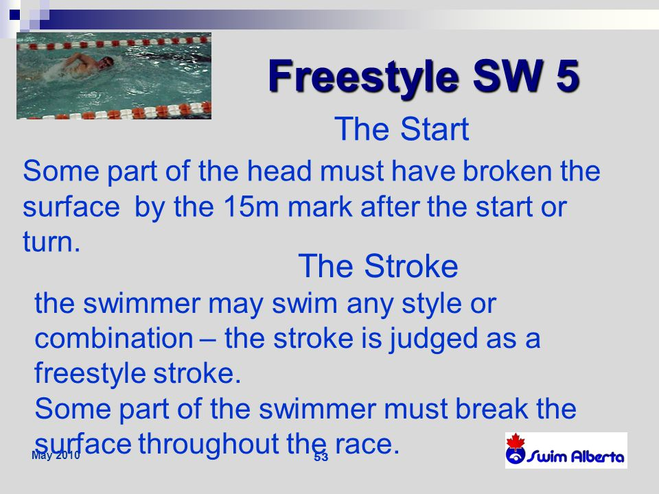 Freestyle SW 5 The Start The Stroke