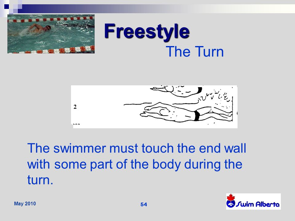 Freestyle The Turn. The swimmer must touch the end wall with some part of the body during the turn.