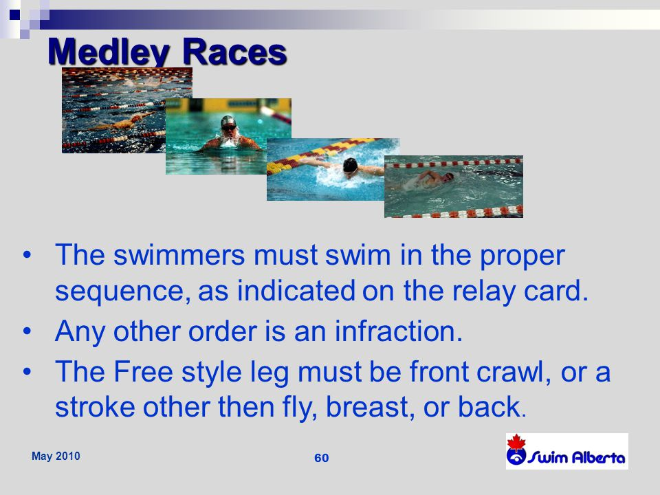 Medley Races The swimmers must swim in the proper sequence, as indicated on the relay card. Any other order is an infraction.