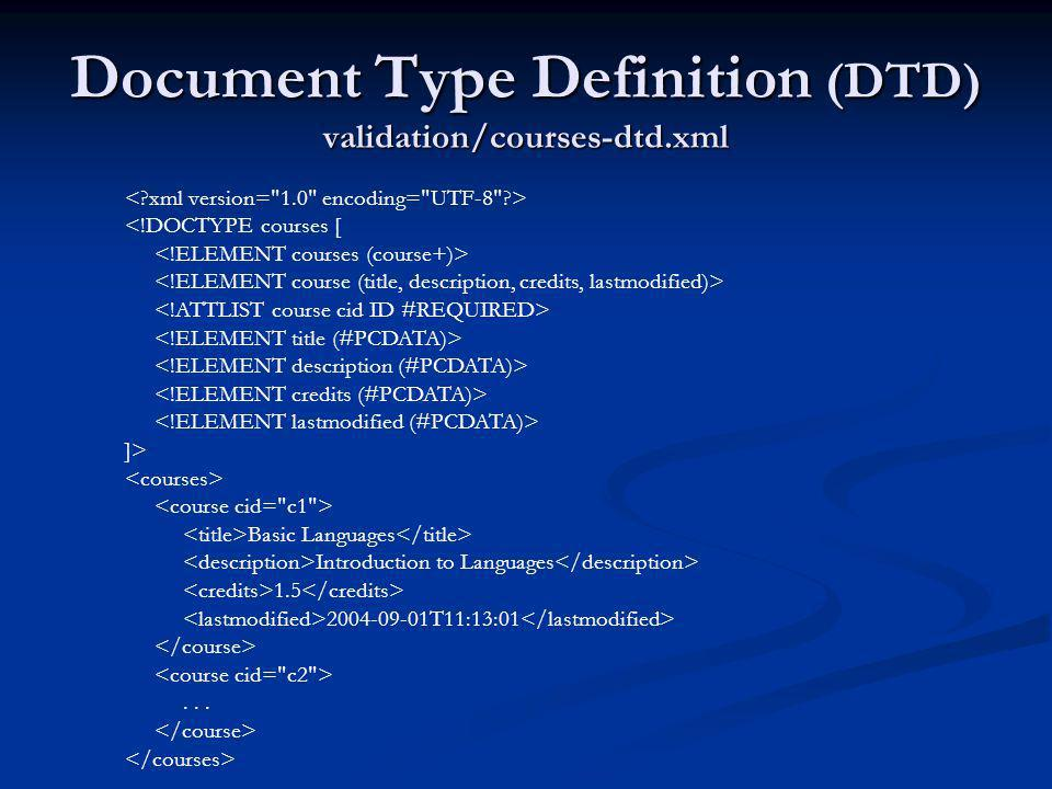 Document Type Definition (DTD) validation/courses-dtd.xml