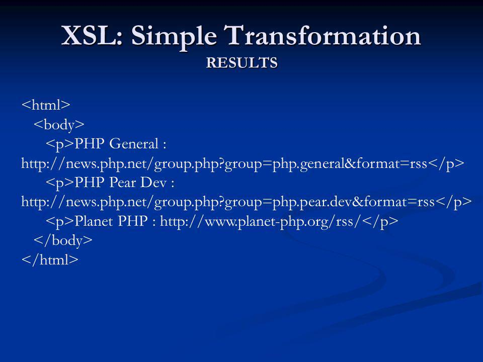 XSL: Simple Transformation RESULTS