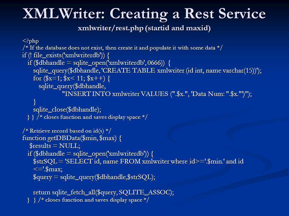XMLWriter: Creating a Rest Service xmlwriter/rest