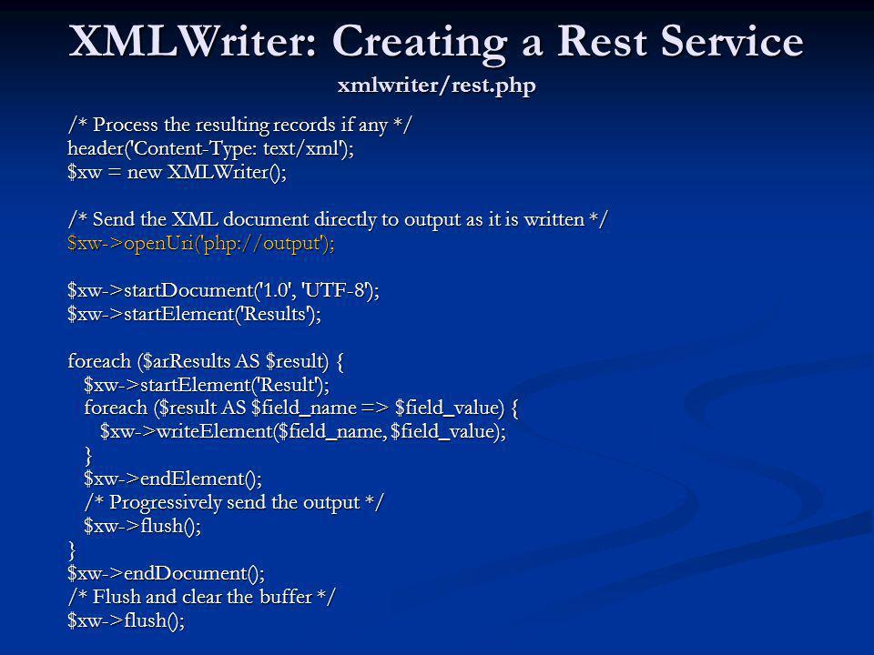 XMLWriter: Creating a Rest Service xmlwriter/rest.php