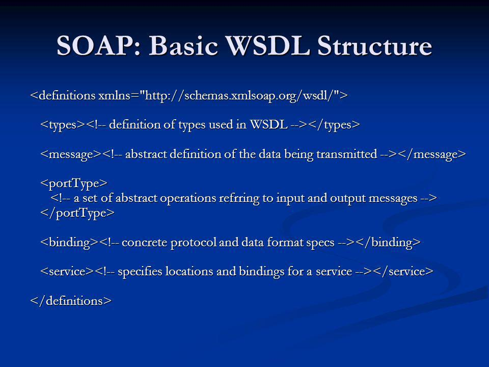 SOAP: Basic WSDL Structure