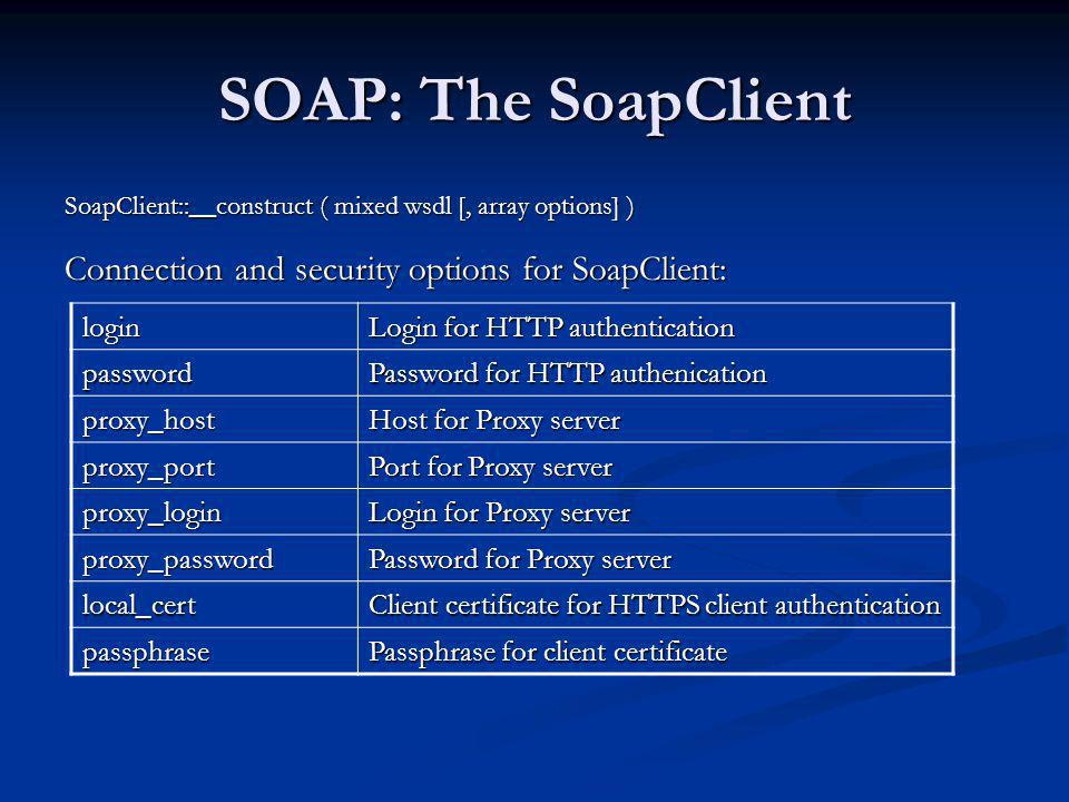 SOAP: The SoapClient Connection and security options for SoapClient: