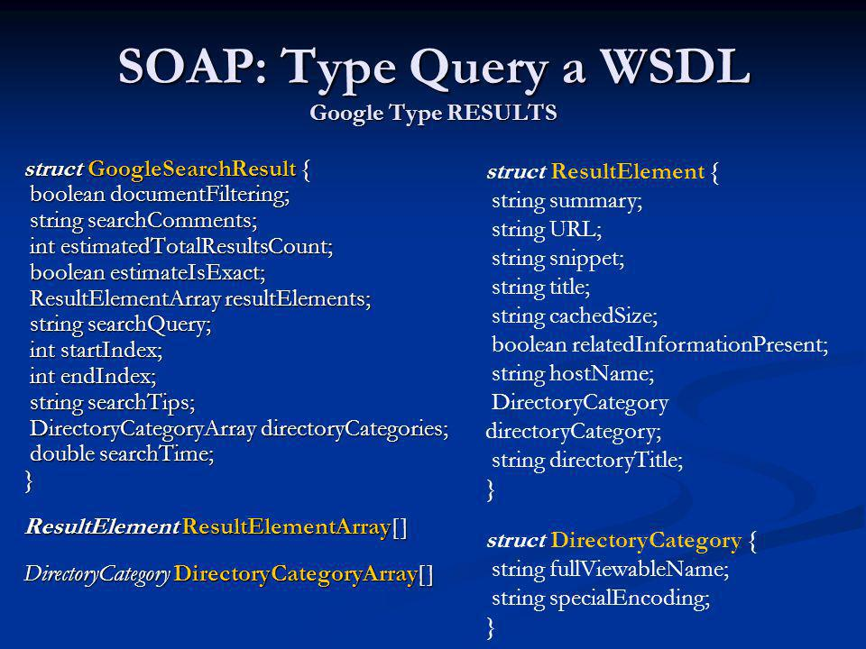 SOAP: Type Query a WSDL Google Type RESULTS