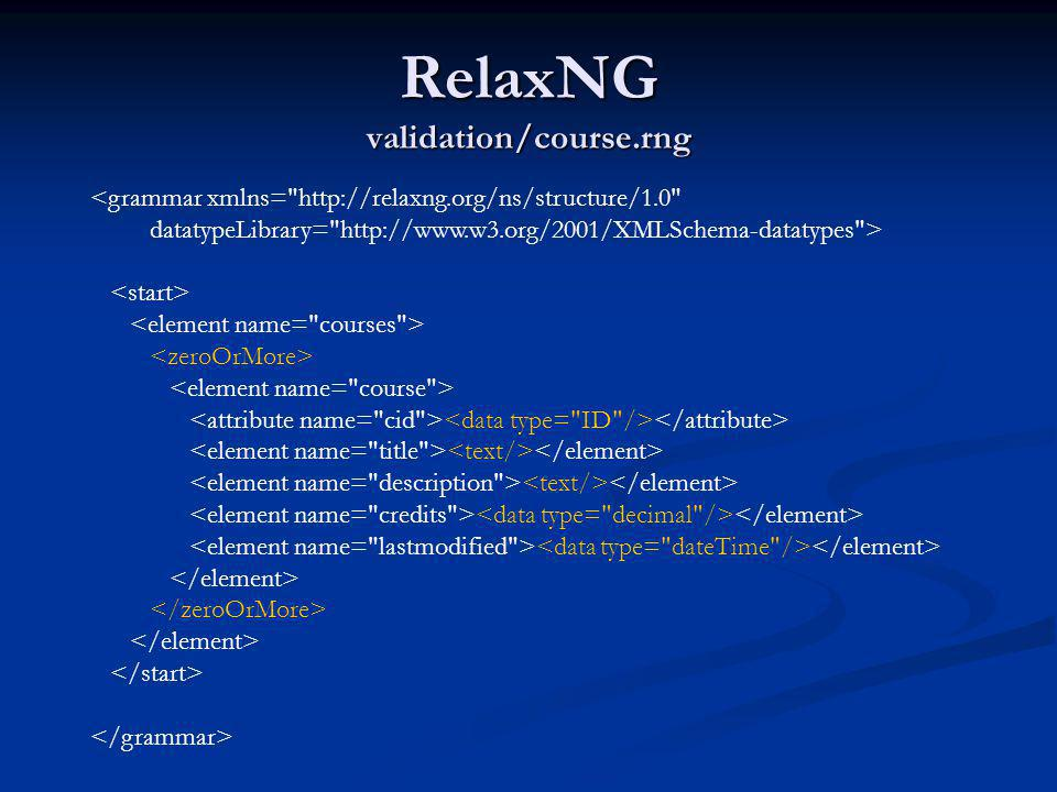 RelaxNG validation/course.rng