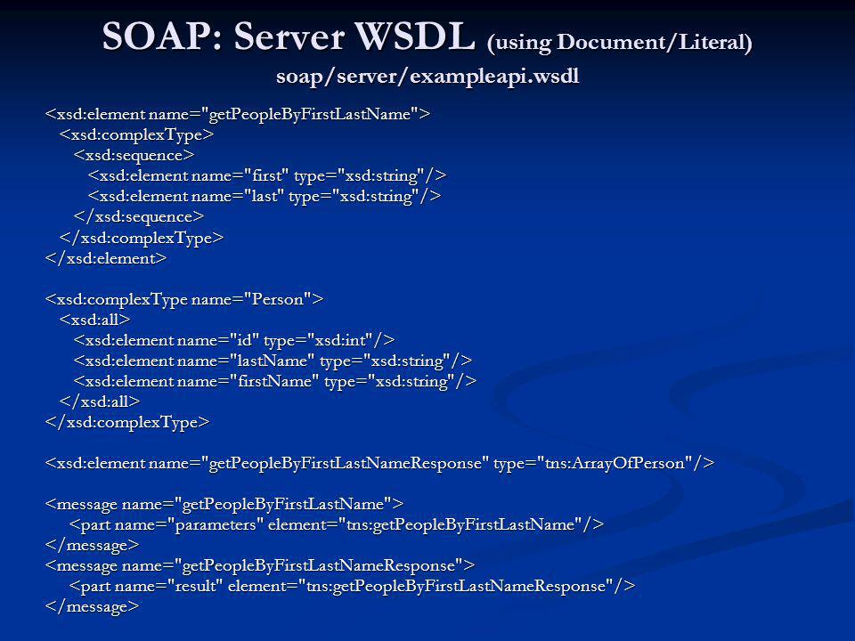 SOAP: Server WSDL (using Document/Literal) soap/server/exampleapi.wsdl
