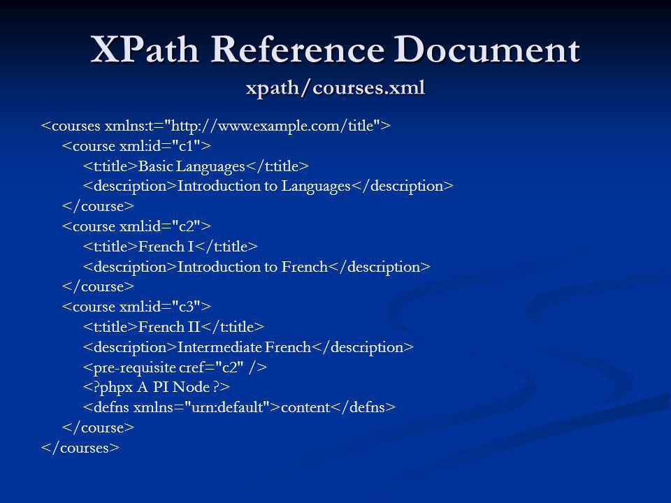 XPath Reference Document xpath/courses.xml