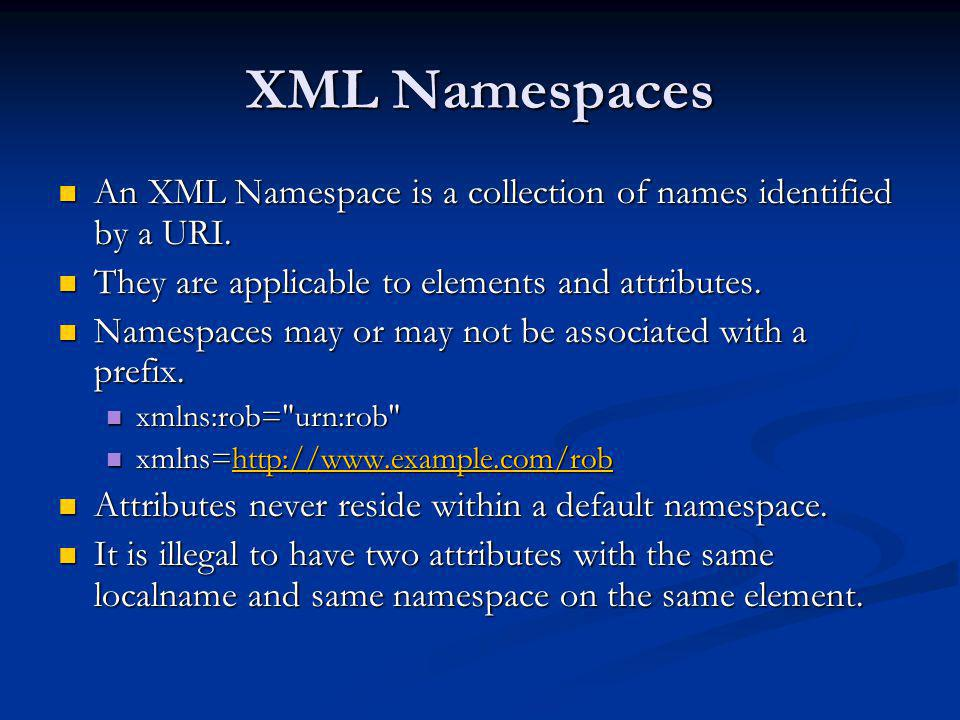 XML Namespaces An XML Namespace is a collection of names identified by a URI. They are applicable to elements and attributes.